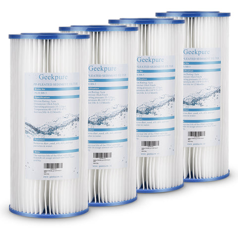 "Whole House Big Blue Pleated PP Sediment Replacement Filter Cartridge- 4.5""X10""-5 Mic- Pack of 4"