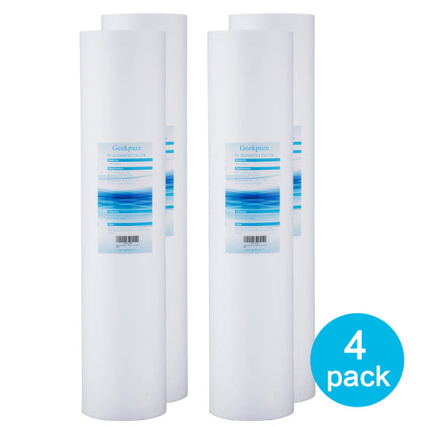 "Geekpure 20-Inch Big Blue PP Sediment Water Filter Cartridge for Whole House (Pack of 4) -20""x4.5"""