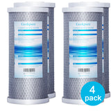 "Big Blue 4.5""x 10"" Carbon Block Replacement Filters for Whole House Water Filtration System -Pack of 4"