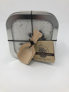 Lavender Bath Salts in Metal Case with Wooden Spoon