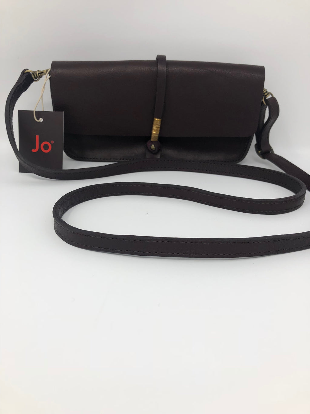 "Brown Leather Handbag with Strap (4""x8"")"