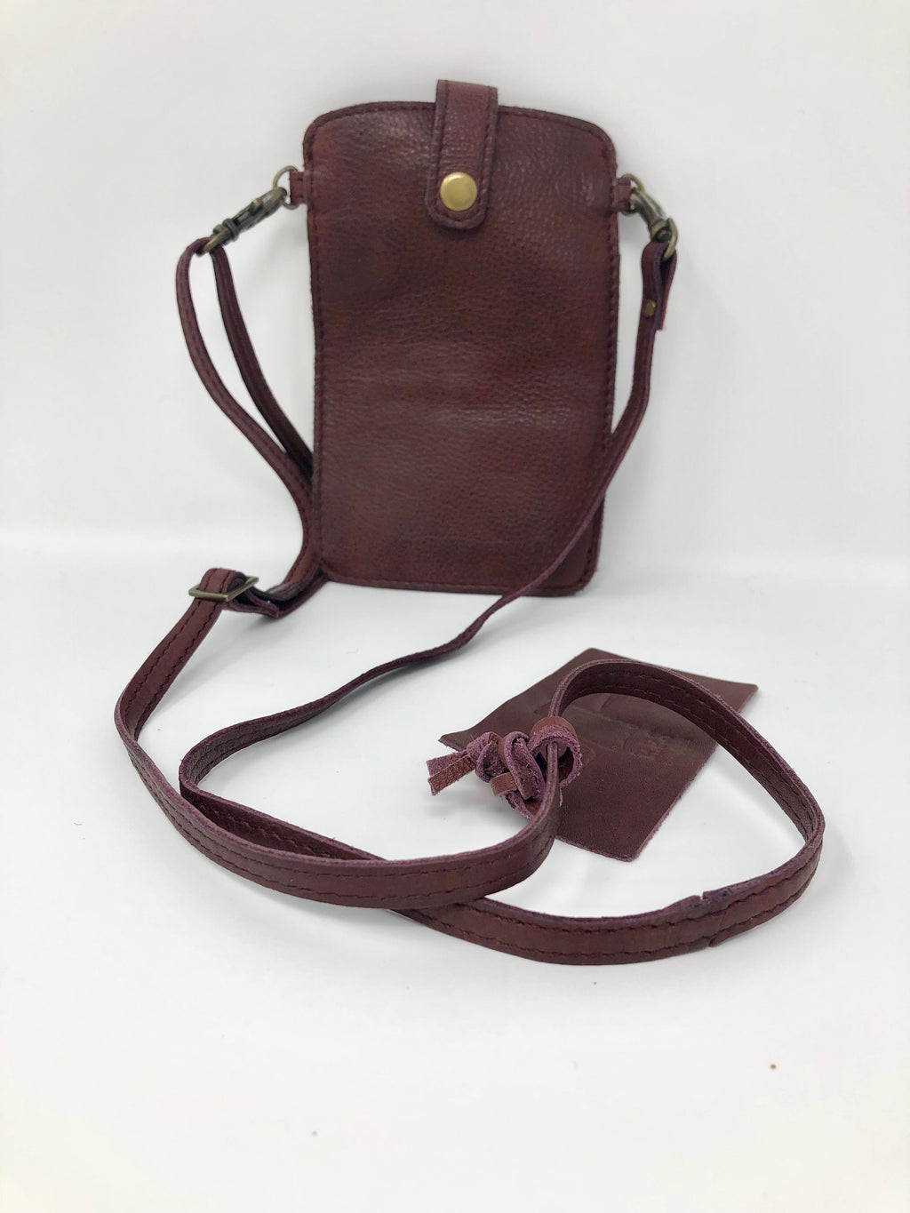 Leather Burgundy-Colored Cellular Phone/Credit Card Carry Case