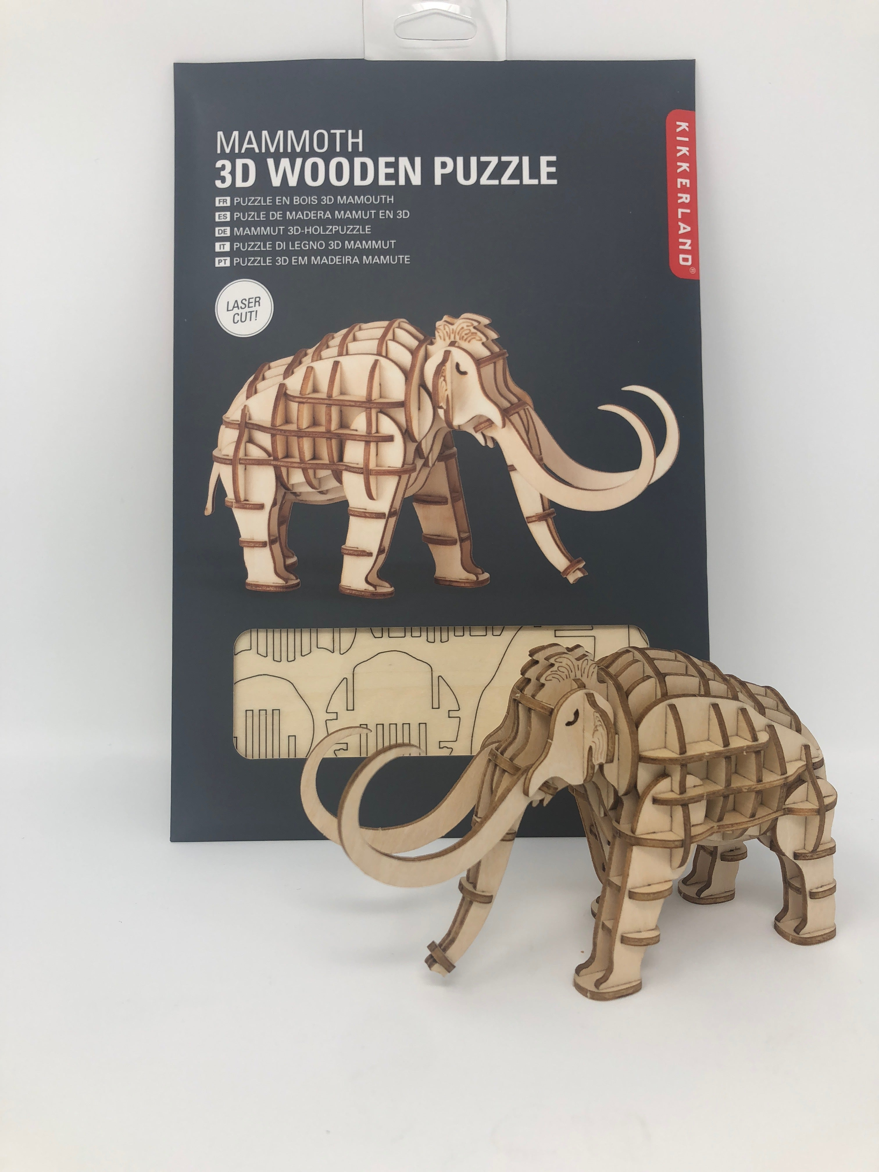 """Mammoth 3D Wooden Puzzle (assembled size: 5.4""""x1.75""""x3.1"""")"""