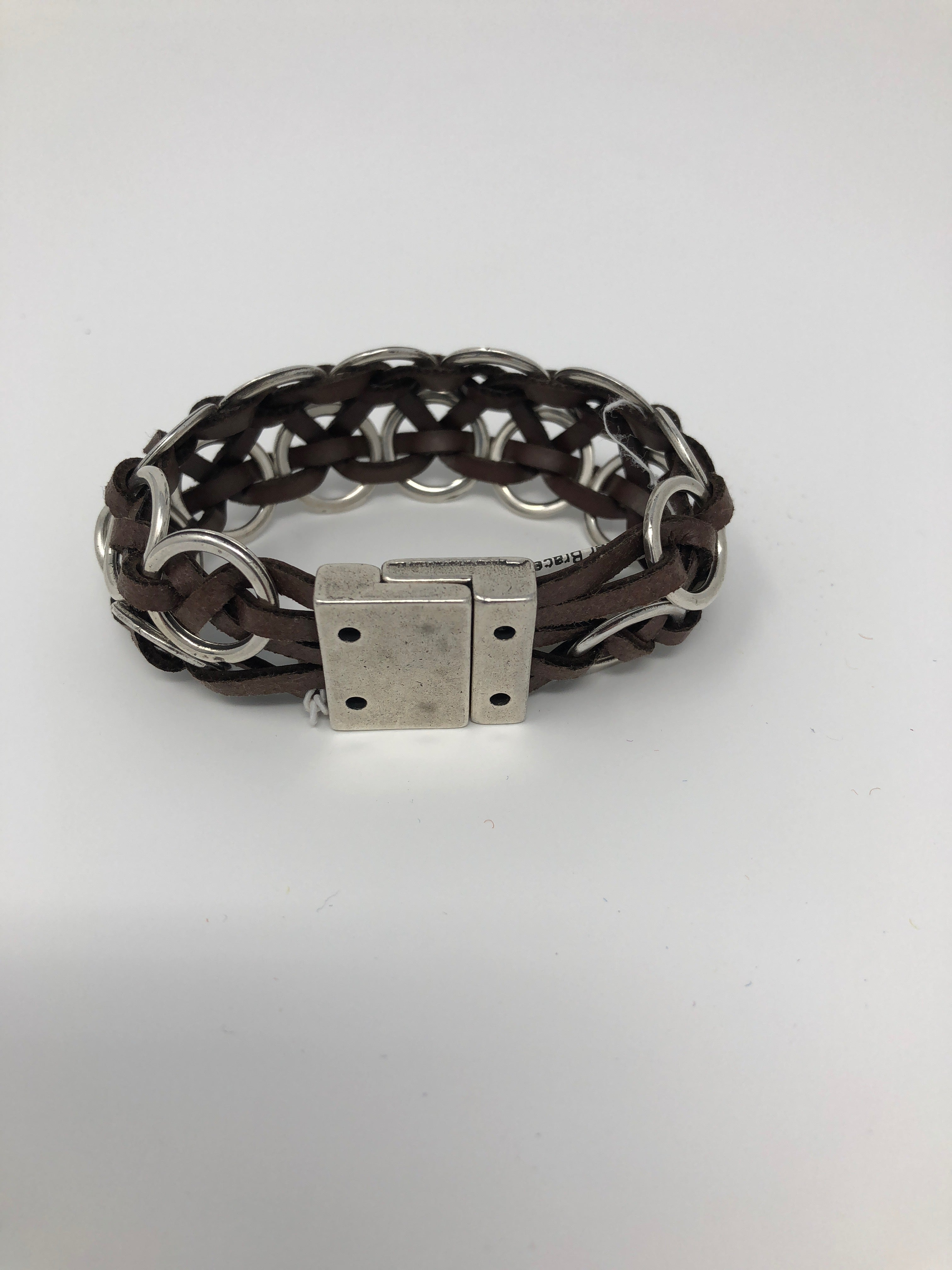 Leather Bracelet with Silver Rings
