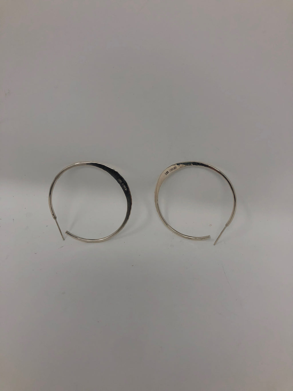 Flat Hoop Sterling Silver Ear Rings