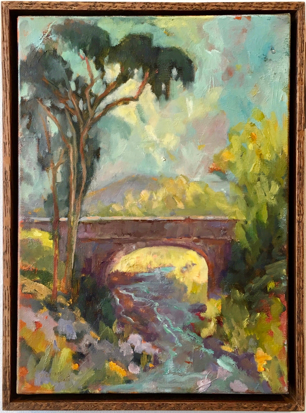 Old Bridge Palisades Road oil on canvas.