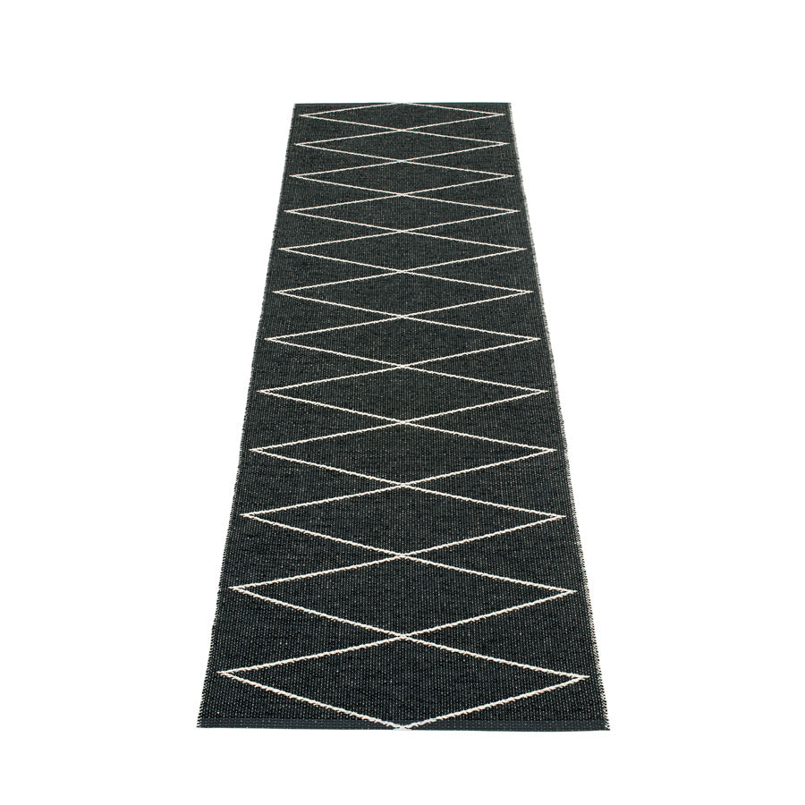 "Pappelina Max Black Indoor-Outdoor Plastic Rug (70cm x 240cm) or (27.6"" x 94.5"")"