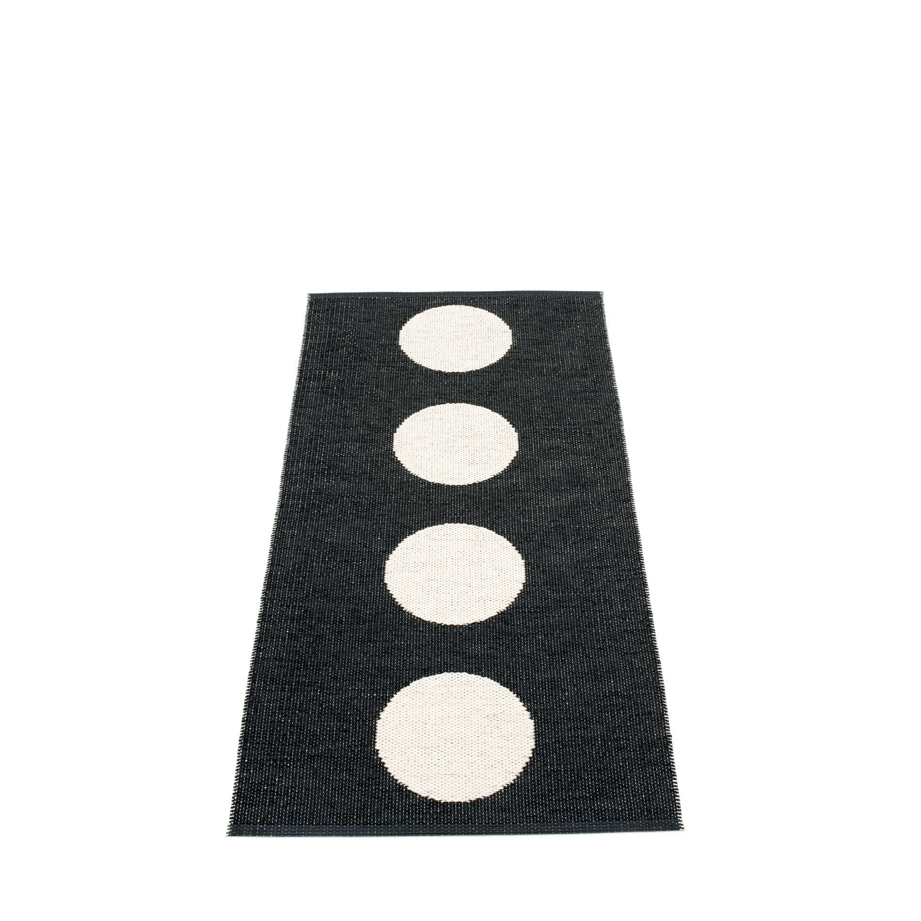 "Pappelina Indoor-Outdoor Plastic Rug - Vera Black & Vanilla (70cm x 150cm) or (27.6"" x 59.1"")"