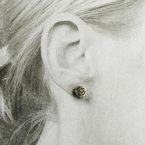 Disc Stud Earring, Antique Lace - oxidised silver