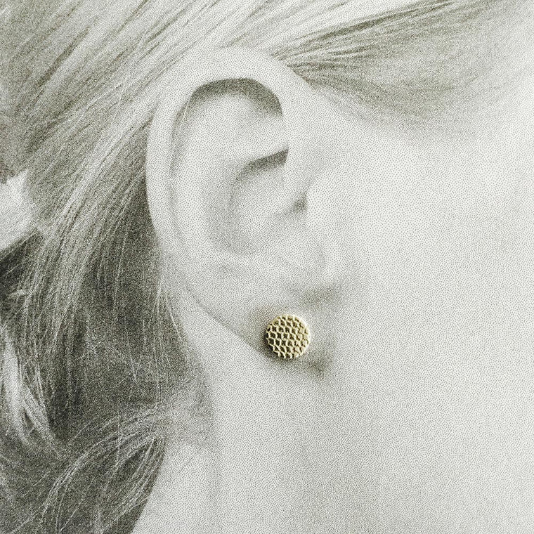 Disc Stud Earring, Tulle - silver