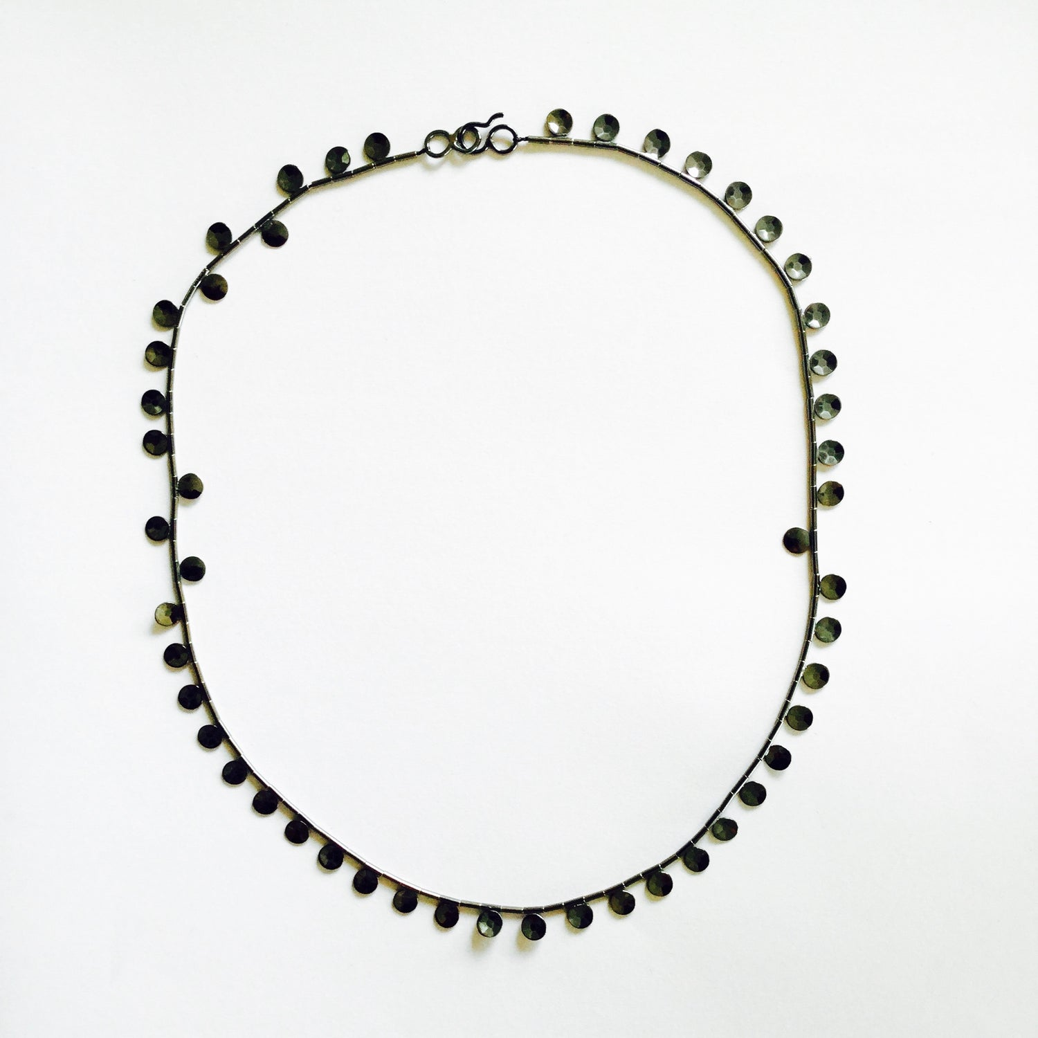 Jewel Length, Faceted Sequin Necklace - oxidised sterling silver