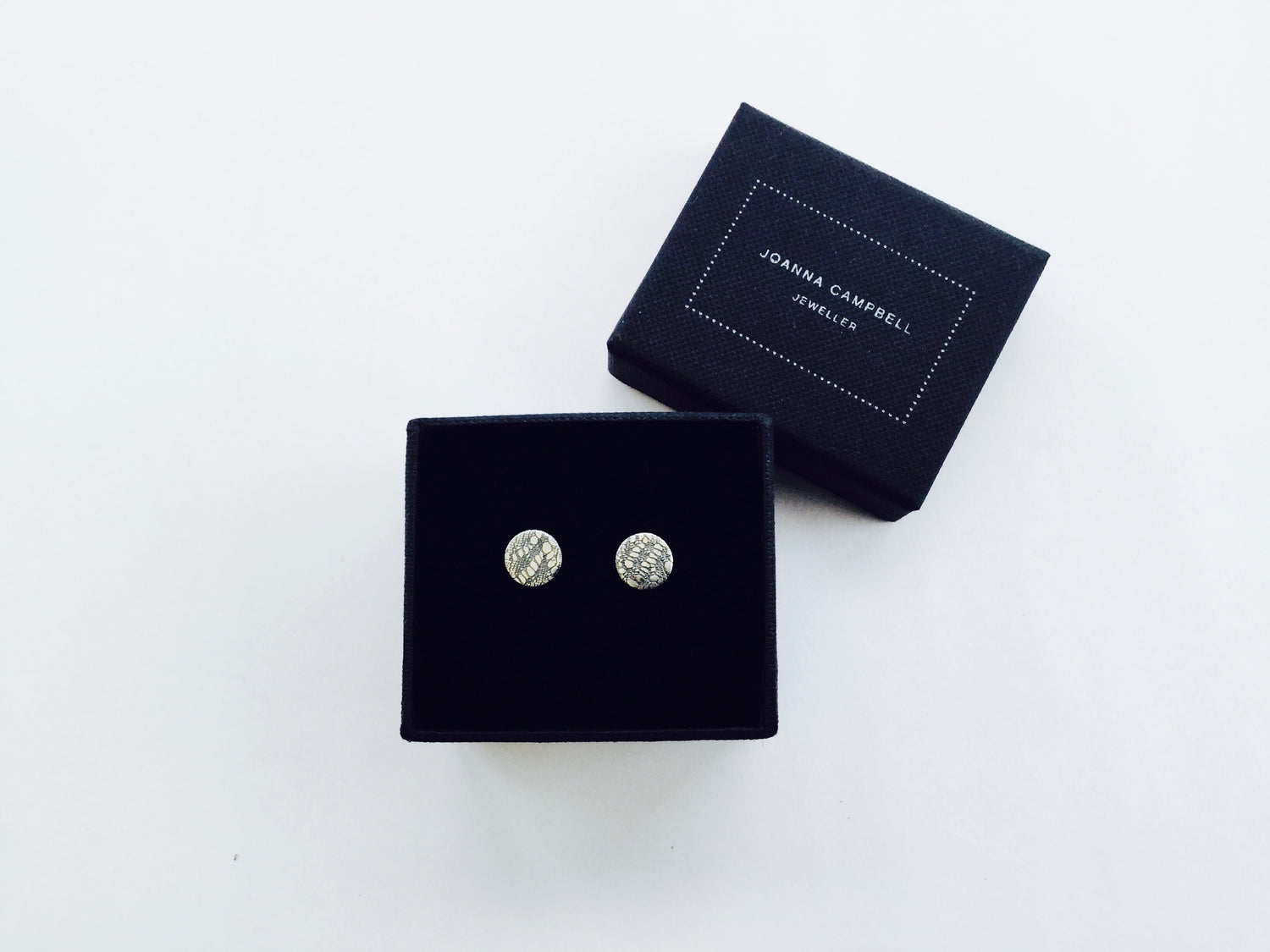 Disc Stud Earring, Valenciennes Lace - oxidised silver