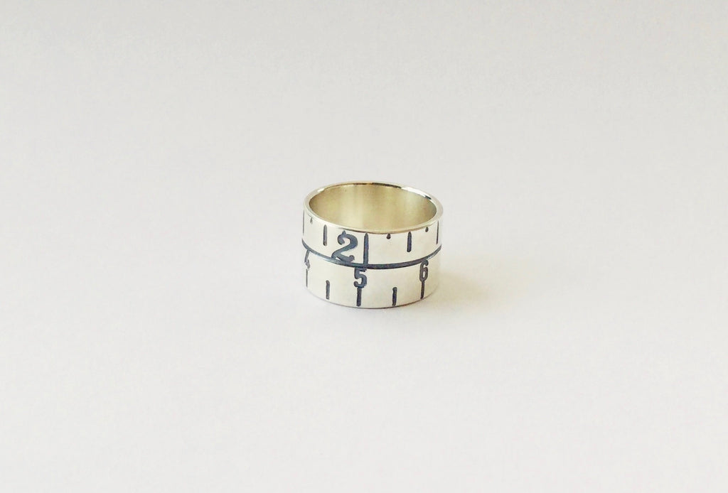 Narrow Tape Measure Ring - oxidised silver