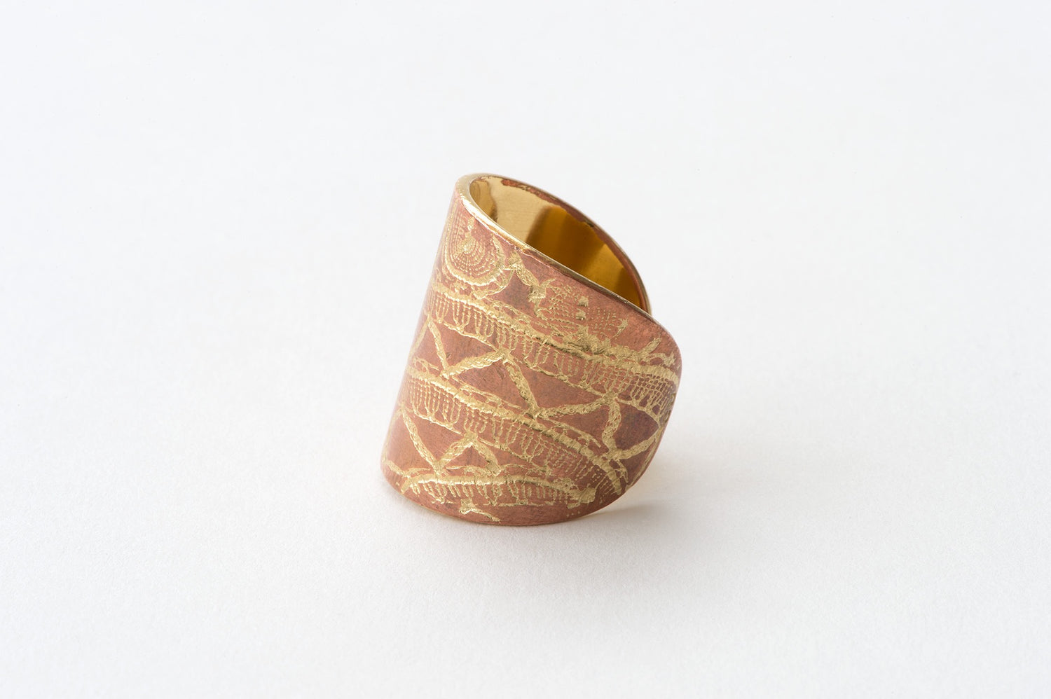 Ring, Bobbin Lace - copper/gold
