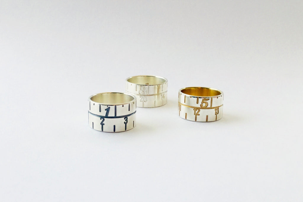 Narrow Tape Measure Ring - silver