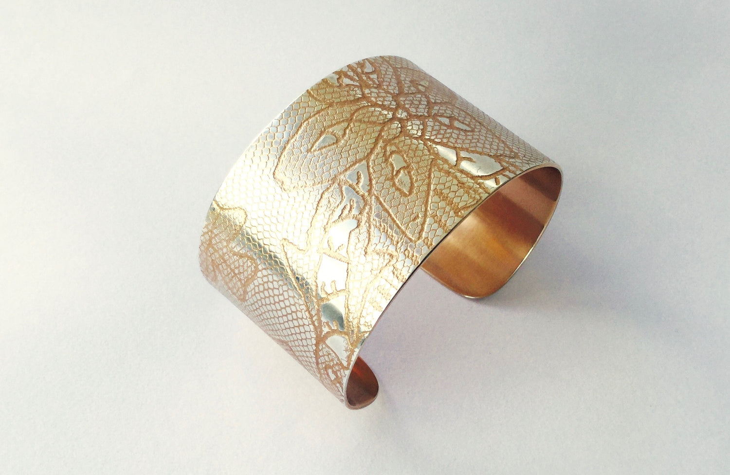 Carrickmacross Lace Cuff - rose gold/silver