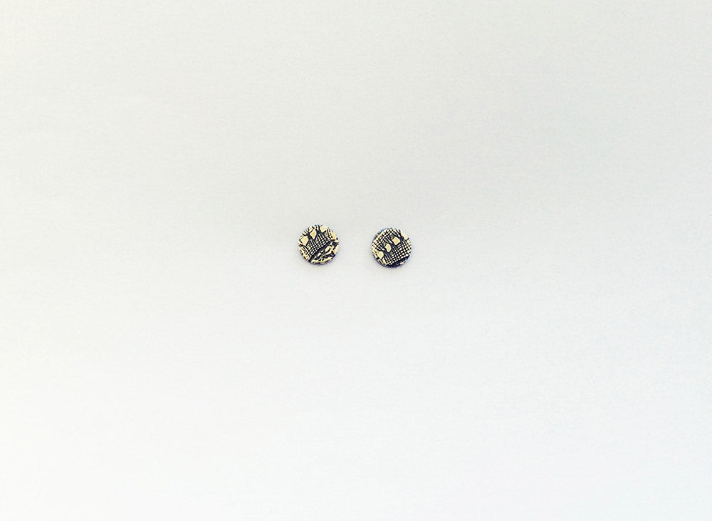 Disc Stud Earring, Bobbin Lace - oxidised silver