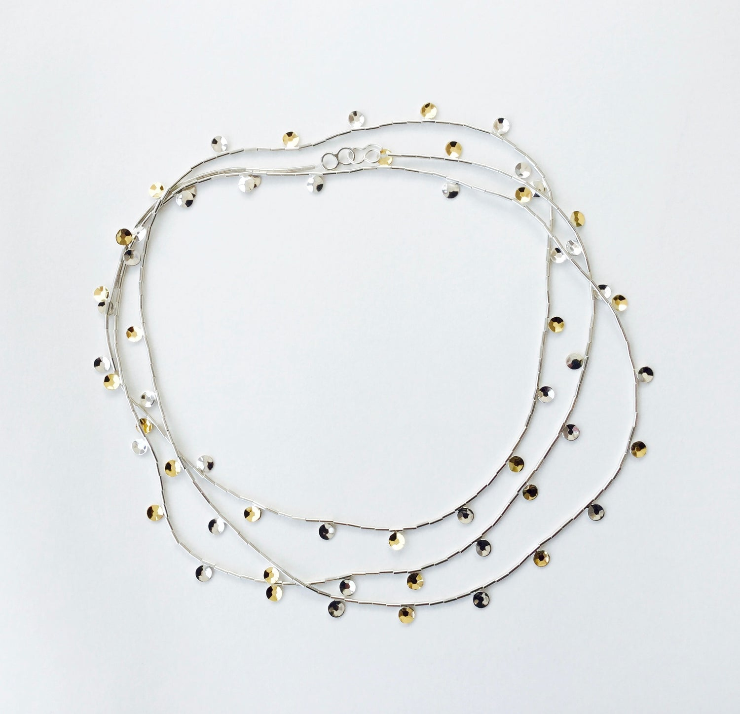 Faceted Sequin Necklace - 18ct gold/silver