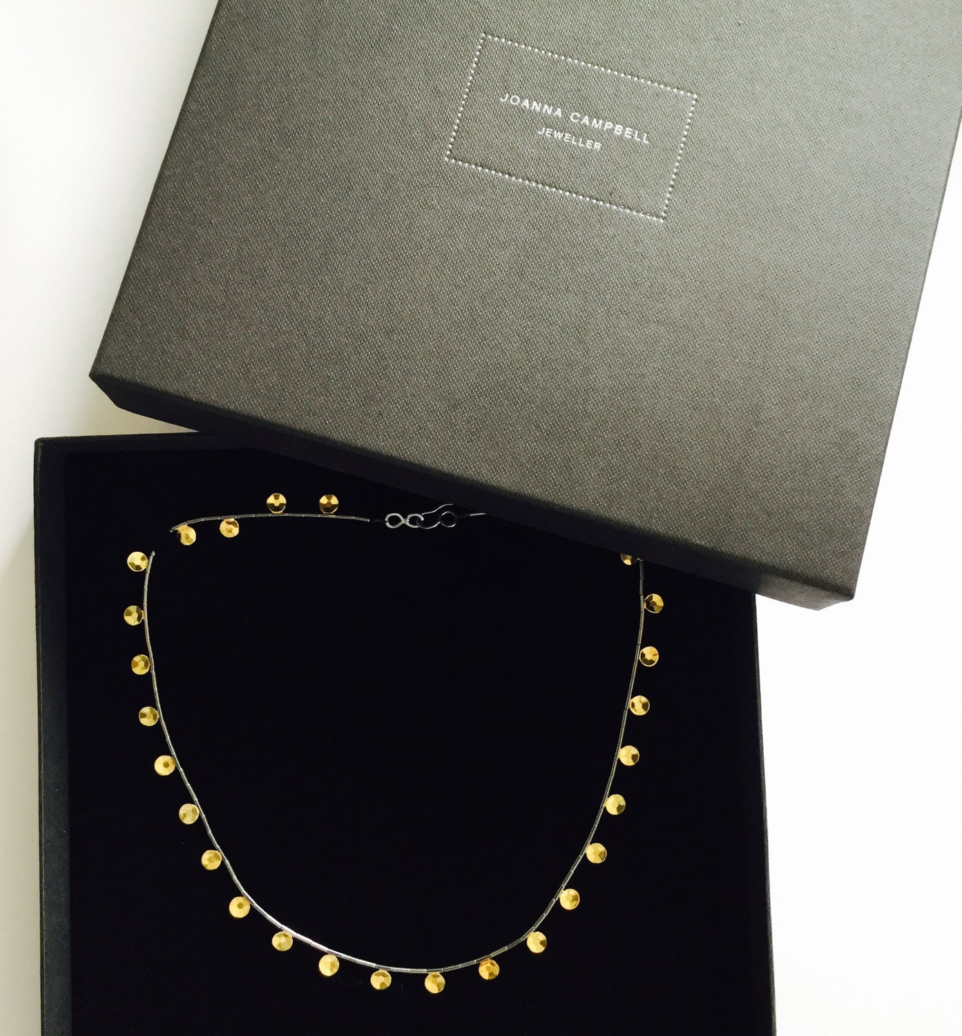 Jewel Length, Faceted Sequin Necklace - 18ct gold/oxidised