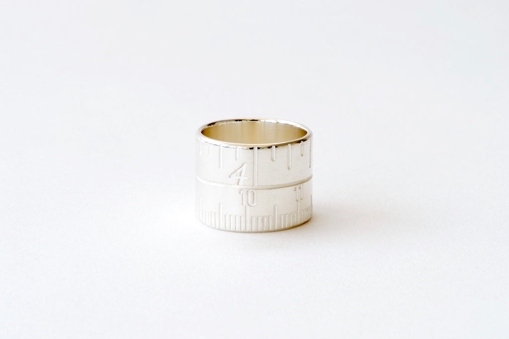Tape Measure Ring - silver