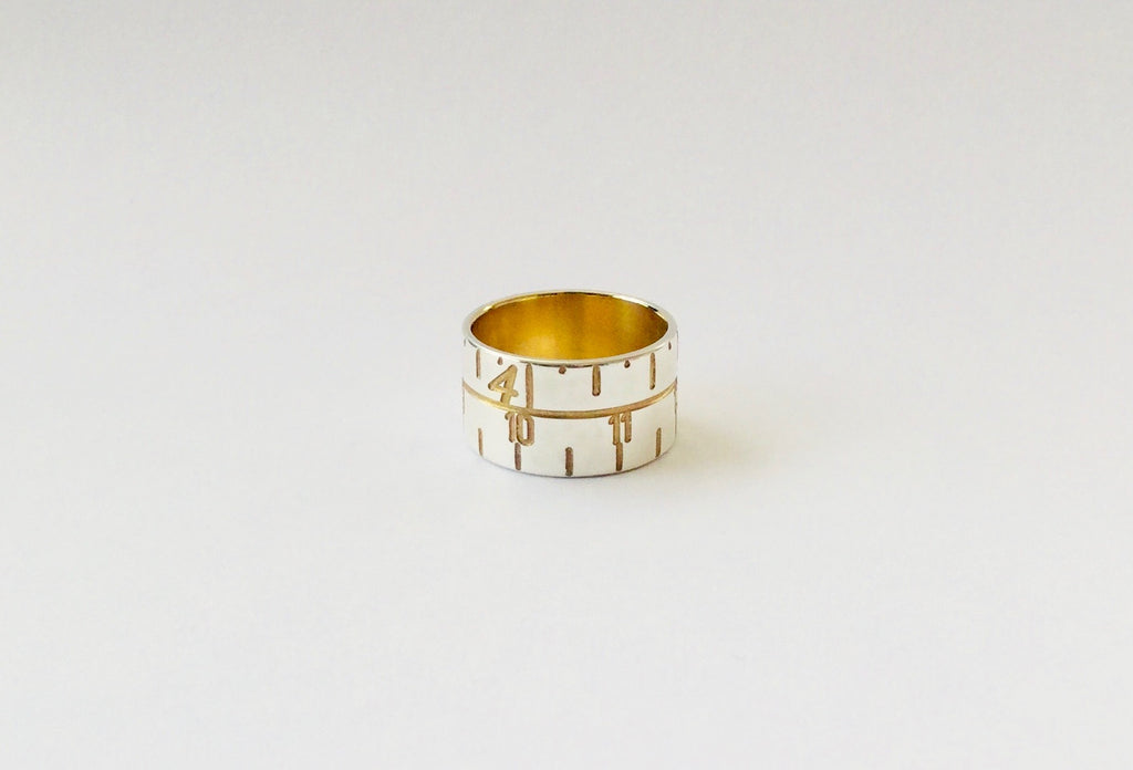 Narrow Tape Measure Ring - gold/silver