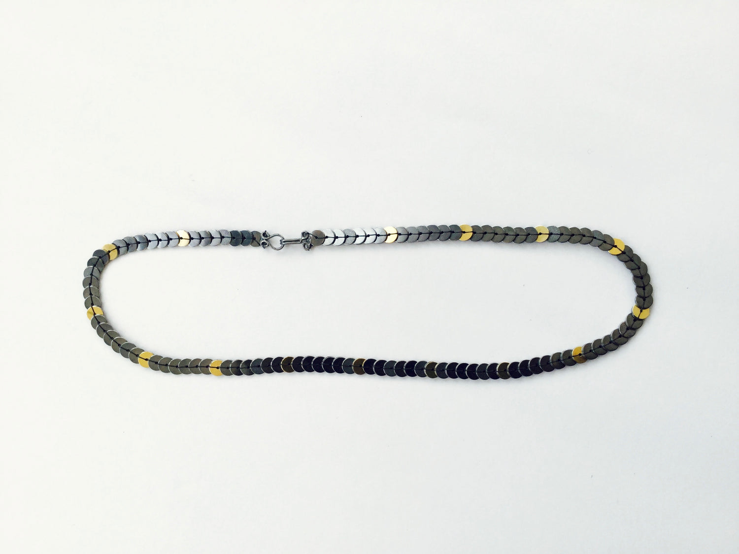 Sequin Necklace - oxidised silver/18ct gold