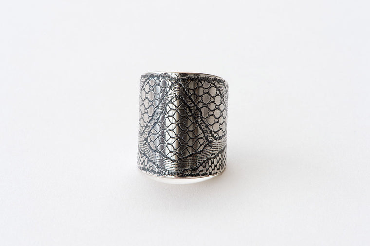 Ring, Deco Lace - oxidised silver