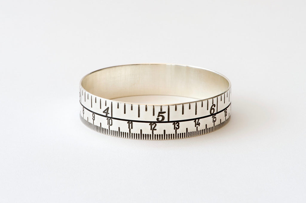 Tape Measure Bangle - oxidised silver