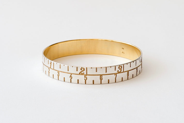 Narrow Tape Measure Bangle - silver/gold