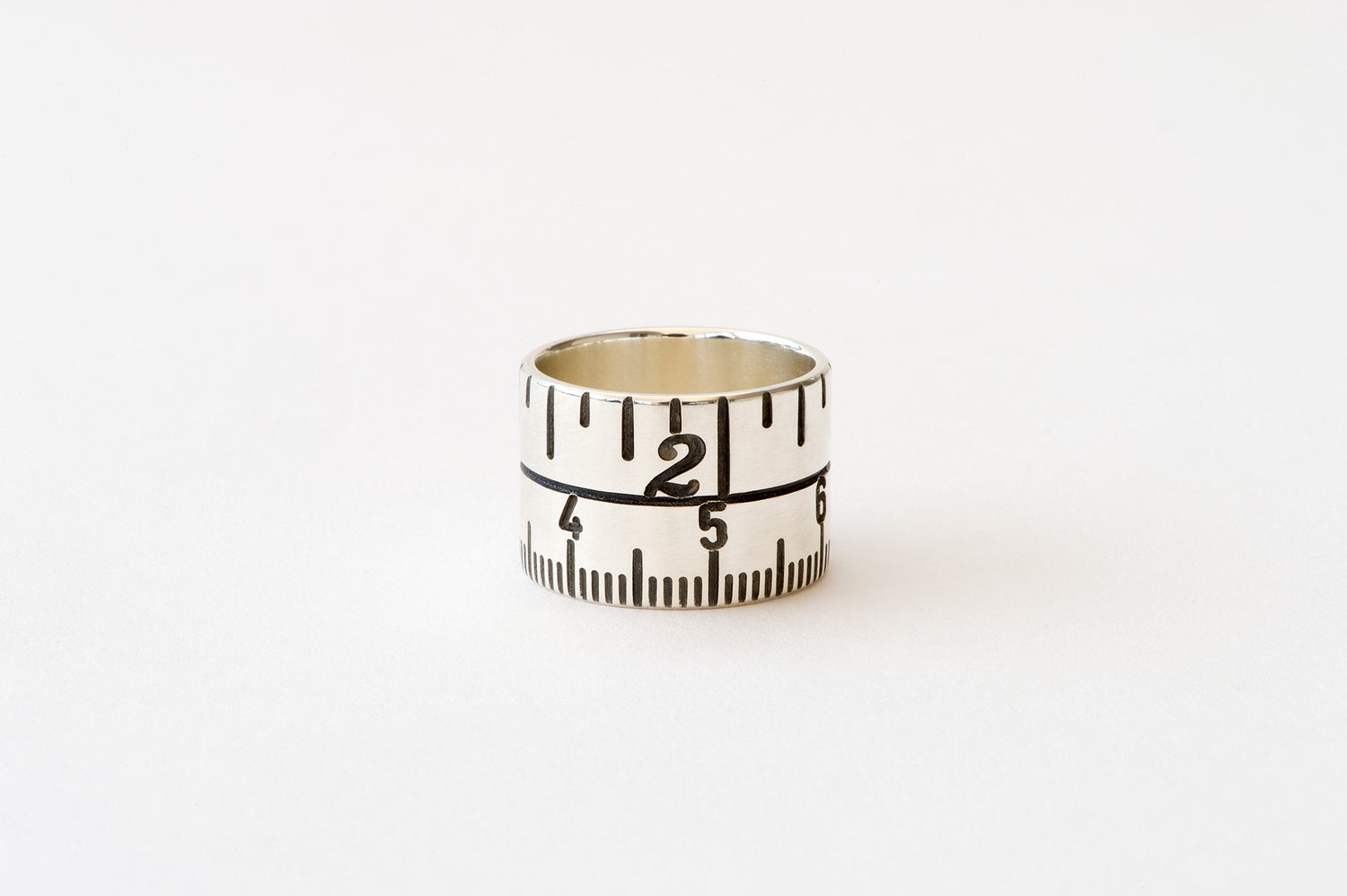 Tape Measure Ring - oxidised silver