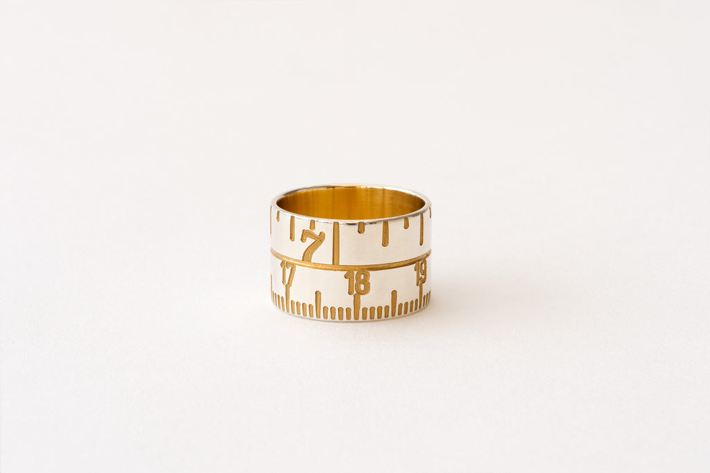 Tape Measure Ring - gold/silver