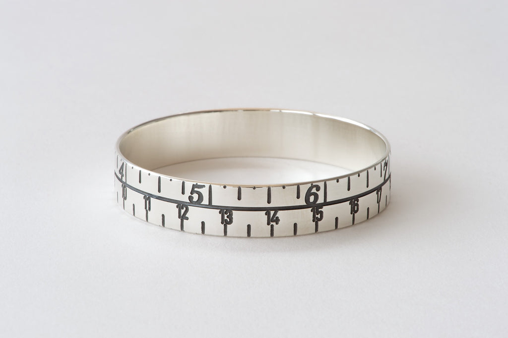 Narrow Tape Measure Bangle - oxidised silver