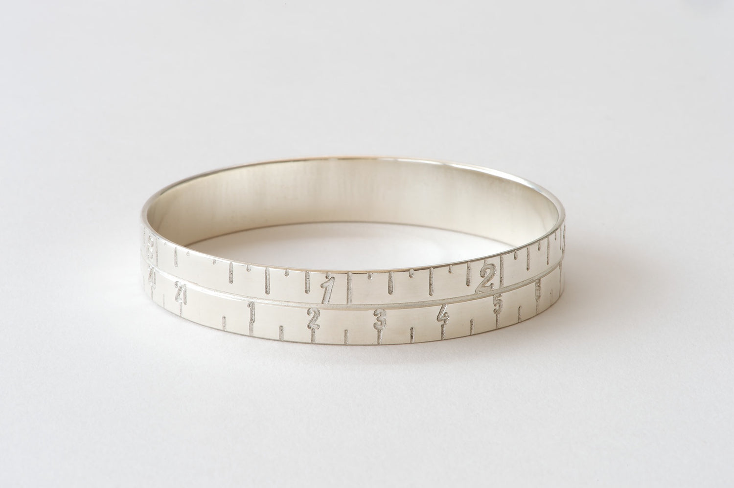 Narrow Tape Measure Bangle - silver