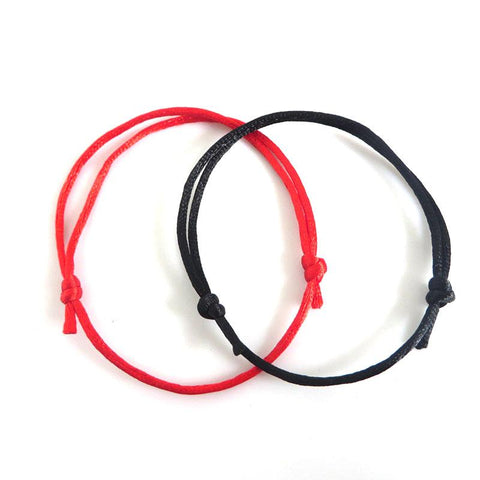 2pcs Fashion Jewelry Simple Style Handmade Black And Red String Lucky Bracelets & Bangles & pulseras Women Men Jewelry