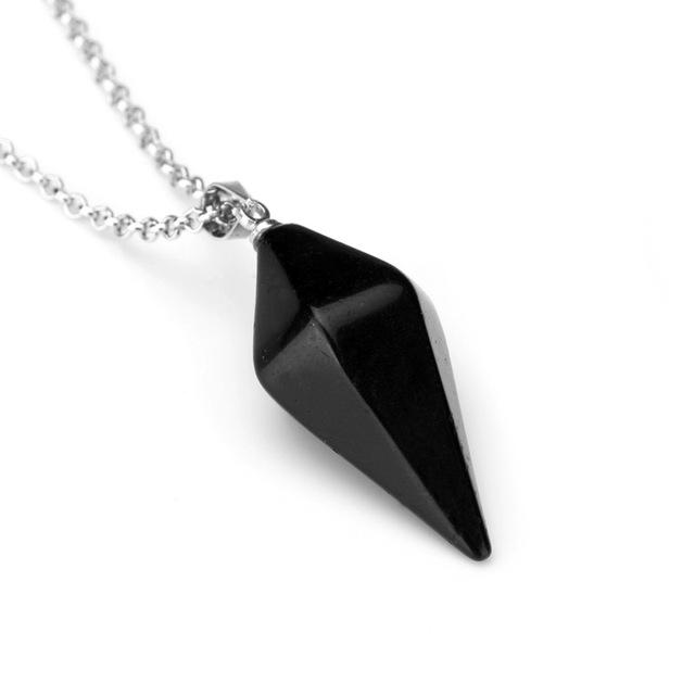 Natural Gem Hexagon Pyramid Reiki Pendulum Stone Pendant Charms Healing Chakra Amulet European Fashionable Jewelry For Women