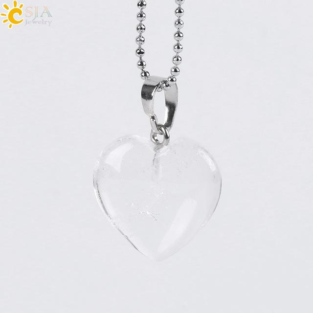 CSJA Natural Gem Stone Love Heart Necklaces & Pendant for Lover Pink Quartz Lapis Lazuli White Crystal Onyx Healing Jewelry E594