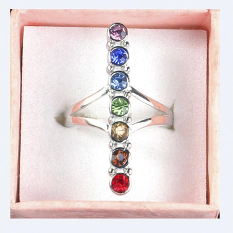 7 Chakra Point Healing Gem Stone Crystal Cross Balancing Meditation Finger Ring Energy Finger Rings Jewelry