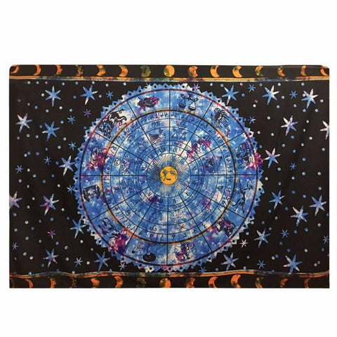 2017 New Large Size Indian Astrology Pattern Printing Wall Hanging Blanket Tapestry Home Background Decoration 148*200cm Size