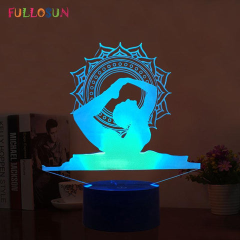 Yoga 3D Night Lights 7 Color Change 3D Touch Table Lamp Creative Gift as Home Decoration LED Night Lamp