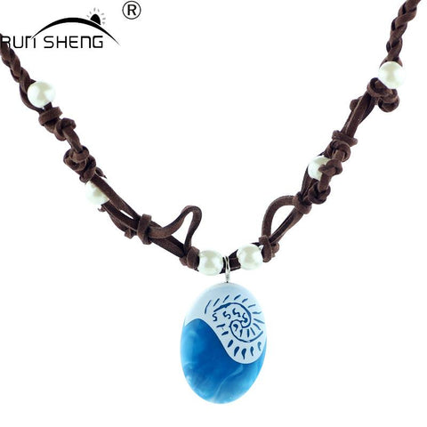 2017 Moana Ocean Rope Chain Necklaces Blue Stone Necklaces & Pendants Leather Suede Choker Necklace for women Girls jewelry