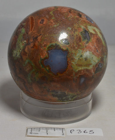 RHYOLITE RAINFOREST JASPER SPHERE 415g Mt Hay Queensland Australia (P365)