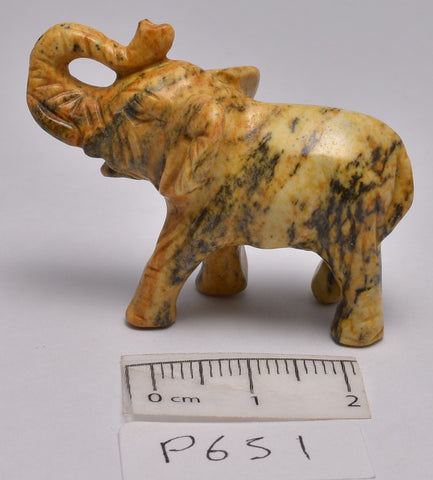 PICTURE STONE CRYSTAL ELEPHANT CARVING  (P651)