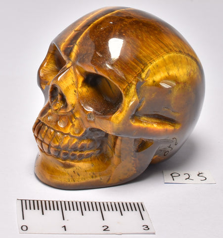 TIGER EYE CRYSTAL CARVED SKULL P25