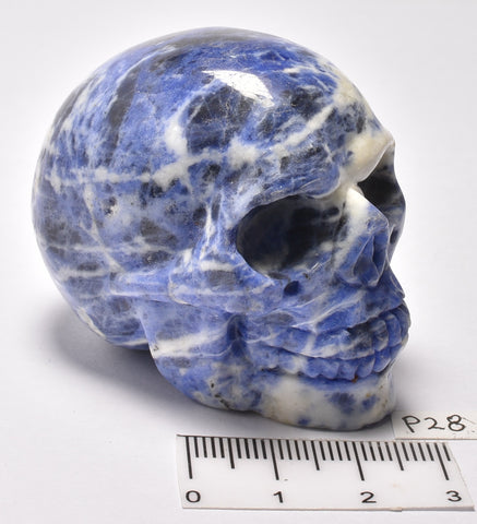 SODALITE CRYSTAL CARVED SKULL P28