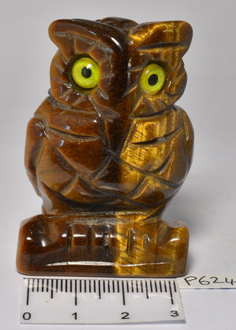 TIGER EYE CRYSTAL CARVED OWL P624