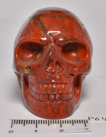 RED JASPER CARVED SKULL P647