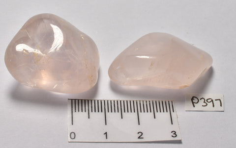 2 x ROSE QUARTZ POLISHED TUMBLES P397
