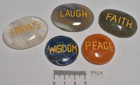 5 x INSPIRATIONAL WORDS ENGRAVED CRYSTAL PALM STONES P929