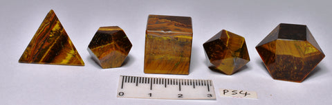 5 PIECE TIGER EYE SACRED GEOMETRY P54