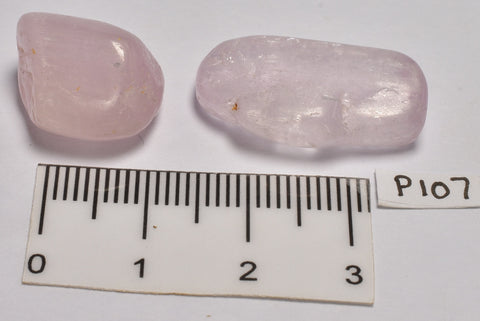 2 x KUNZITE POLISHED CRYSTAL TUMBLES P107